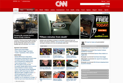 The CNN.com website uses photos to highlight featured articles